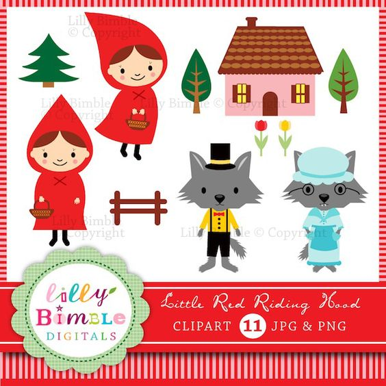 Little Red Riding Hood Fairytale clipart for design and craft.
