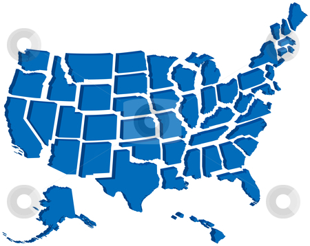 United States 3D Map stock vector.