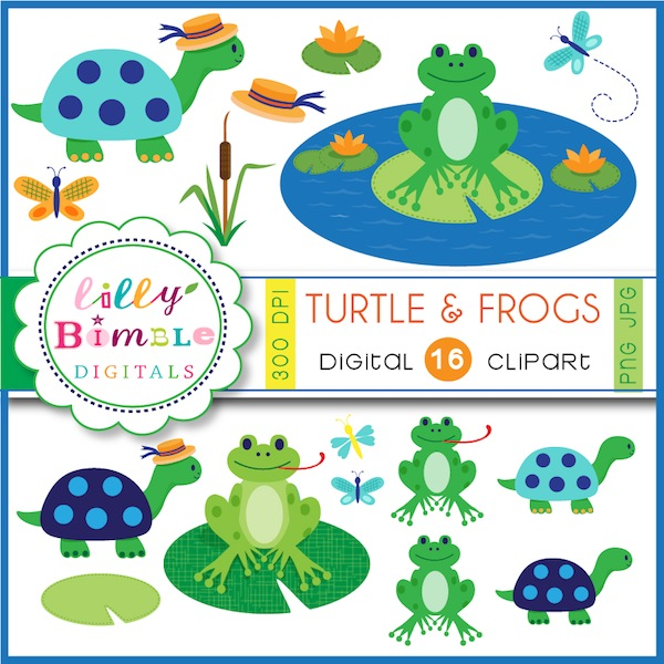 Turtle & Frogs Clipart Frogs and turtles clipart for invites.