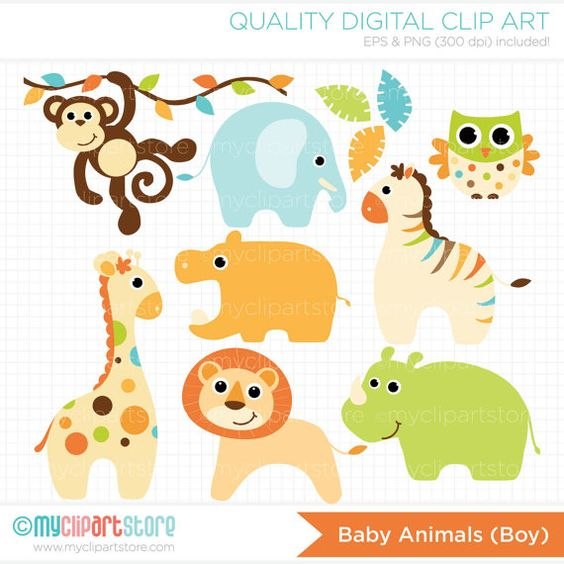 Baby Animals (Boy) Clip Art / Digital Clipart.
