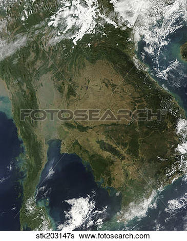 Stock Images of Satellite view of Indochina. stk203147s.