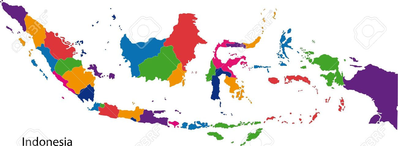 Map Of Administrative Divisions Of Indonesia Royalty Free Cliparts.