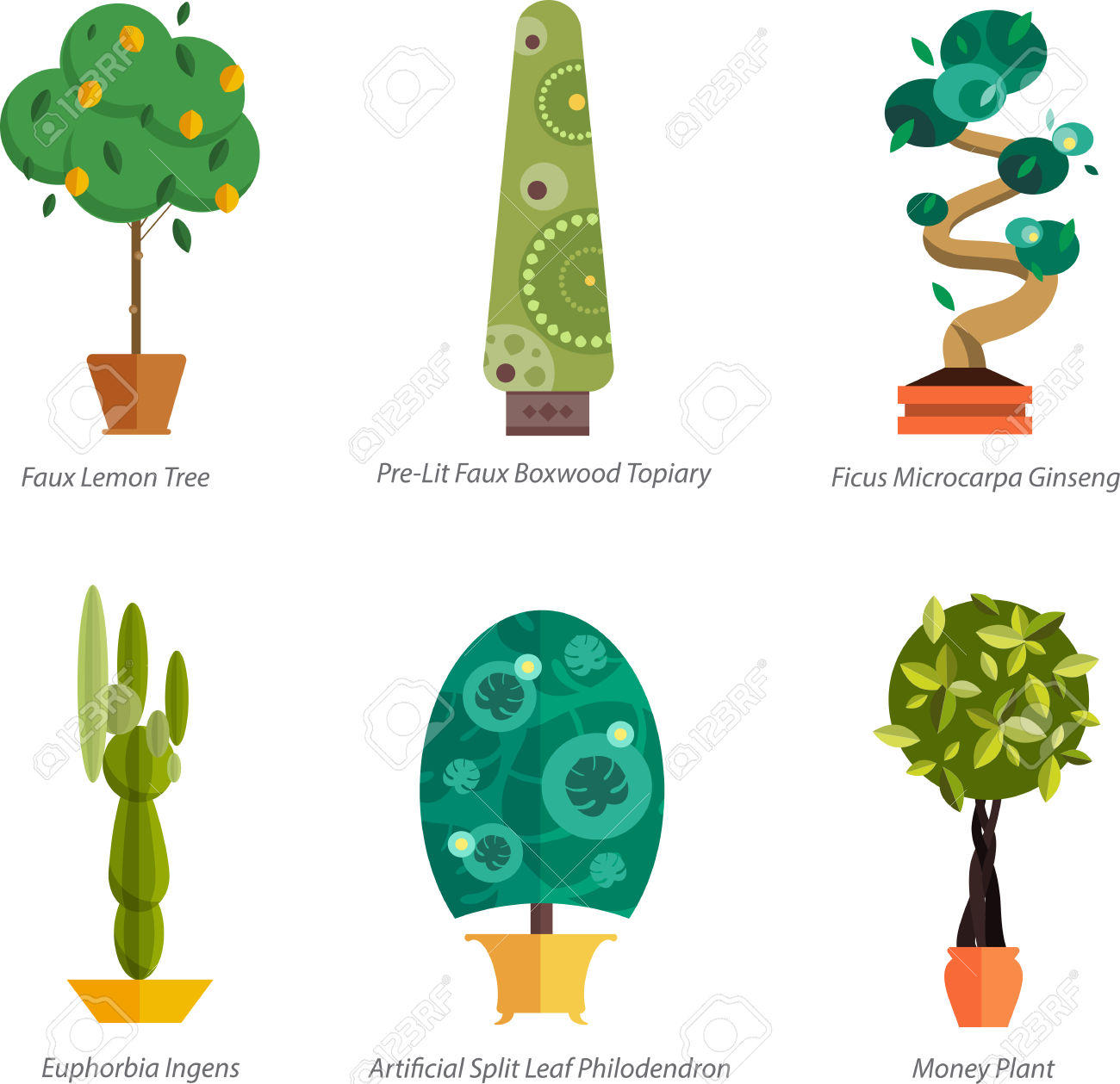 Vector Set Of Indoor Plants In Pots. Illustration Of Floor Trees.