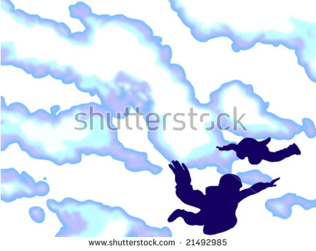 Illustration Shows Tandem Skydiving (Silhouettes Of Parachute.