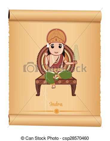 Clip Art Vector of Indian Hindu Mythological God Indra.