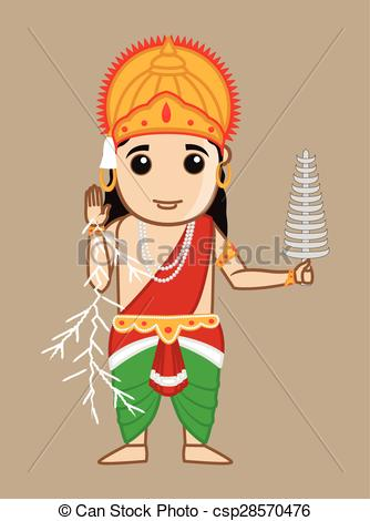 Vectors Illustration of Mythological Hindu Indra God.