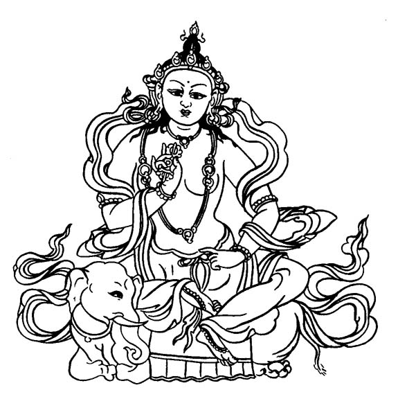 Buddhist Art Work: Line Art, Indra or Sakra.