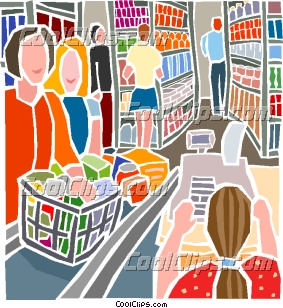 Industry, grocery or market shopping Clip Art.