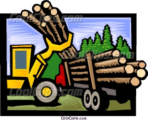 forestry loading logs onto a Vector Clip art.