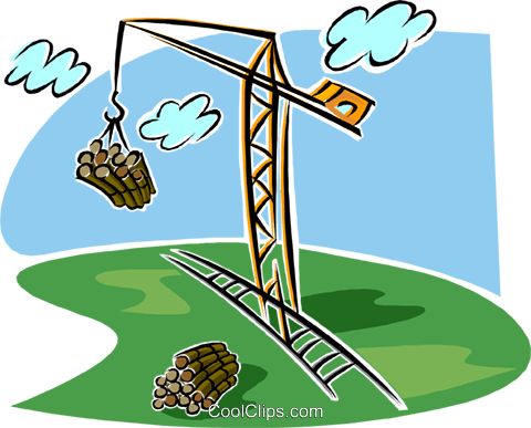 crane with load of logs, lumber industry Royalty Free Vector Clip.