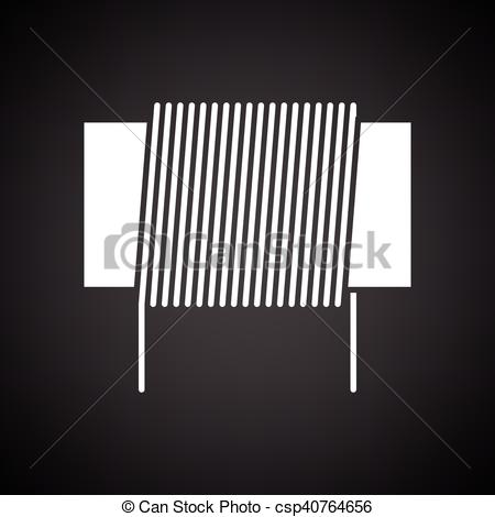 Clipart Vector of Inductor coil icon. Black background with white.