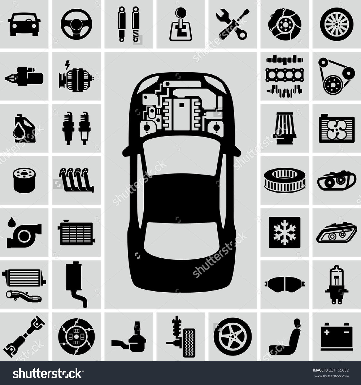 Car Engine Parts Vector Icons Stock Vector 331165682.
