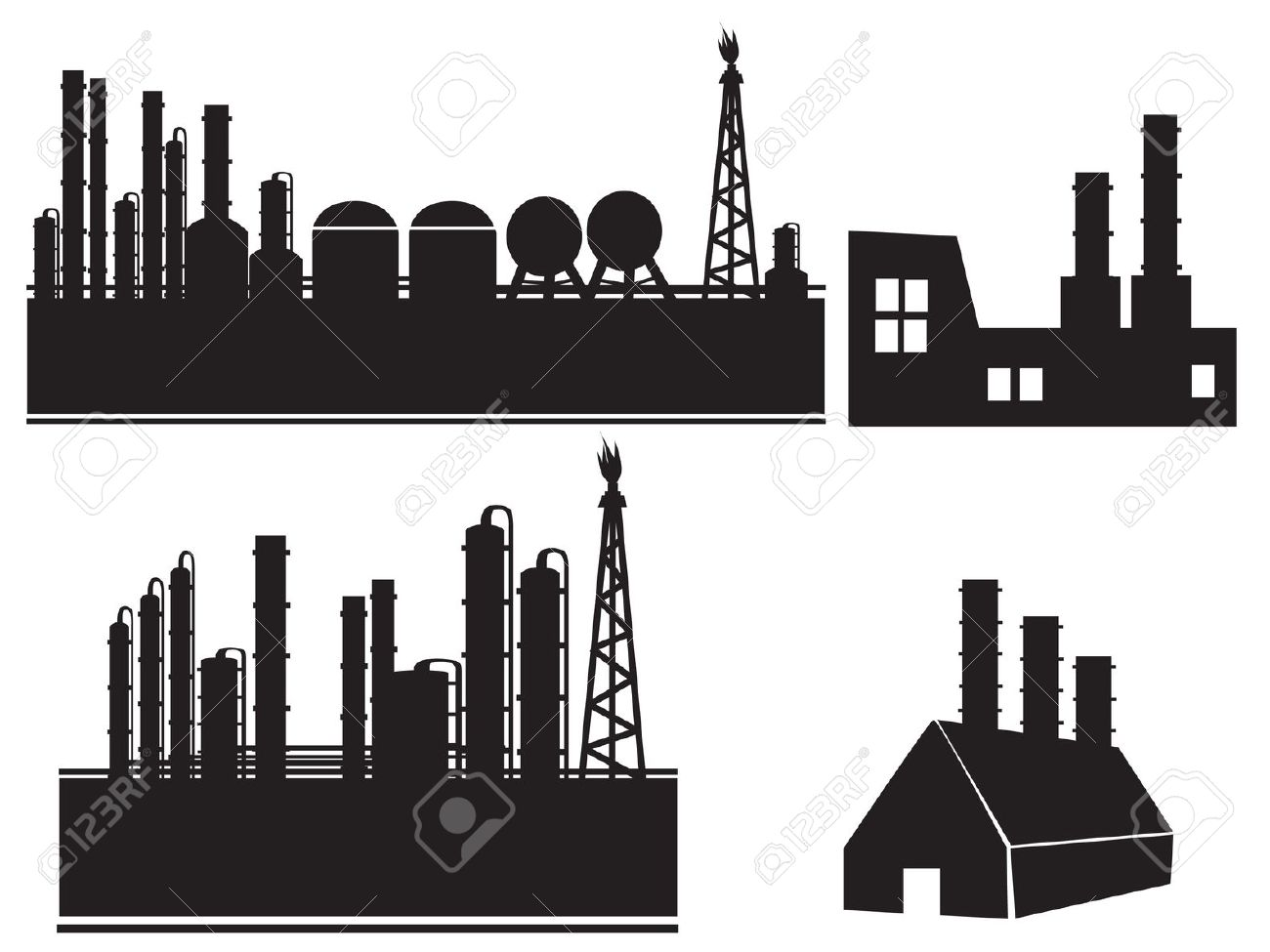 Industrial Building Factory Icon Set Royalty Free Cliparts.