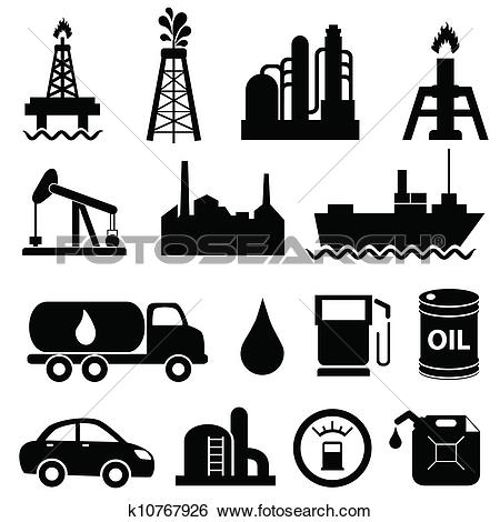 Clipart of Oil and petrol industry icons k5485150.