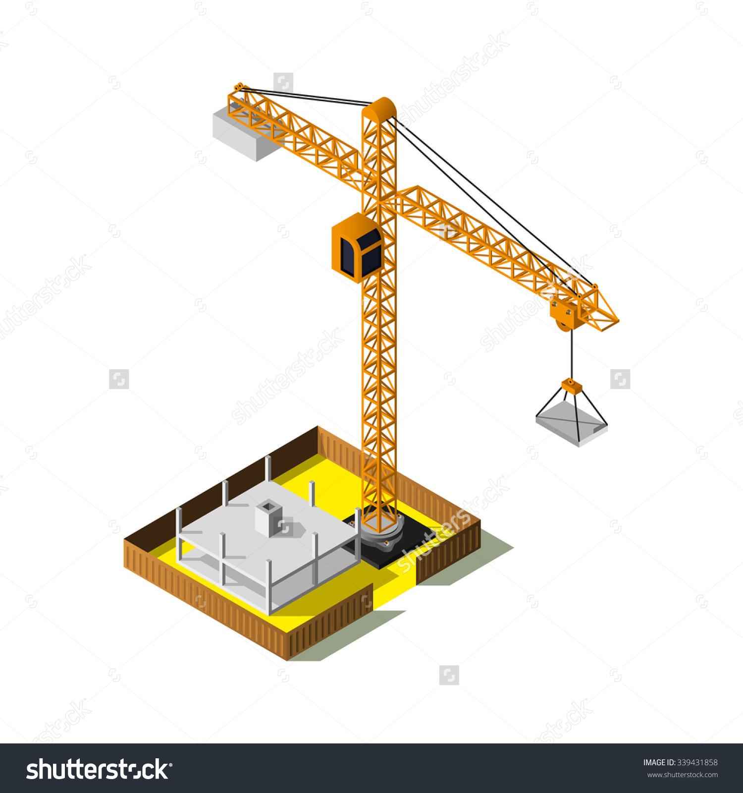 Isometric Industrial Crane Isometric Construction Site Stock.