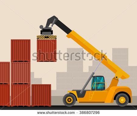 Reach Stacker Container Industrial Crane Construction Stock Vector.
