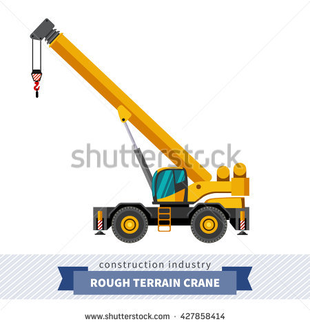 Straddle Carrier Container Industrial Crane Side Stock Vector.