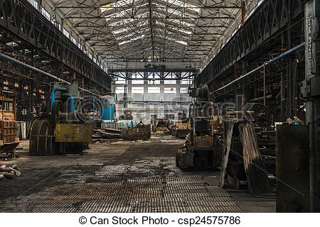 Pictures of Large empty hall with concrete walls.