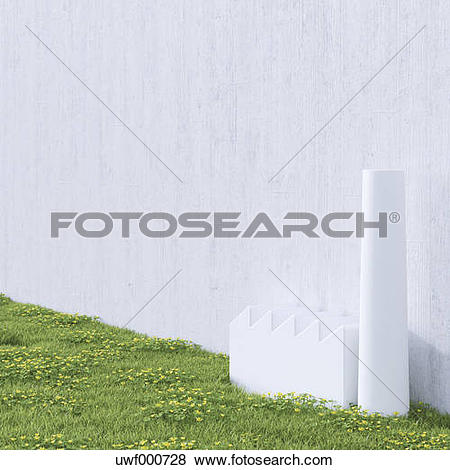 Stock Illustration of 3D Rendering, industrial hall on a wall.