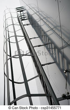 Picture of Fire escape on the glossy exterior of an industrial.
