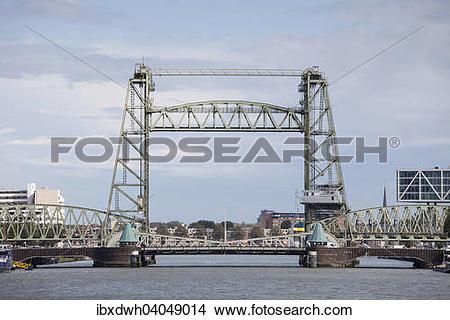 """Stock Photo of """"De Hof, former railway bridge and industrial."""