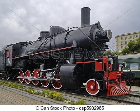 Stock Images of The Locomotive industrial monument in city.