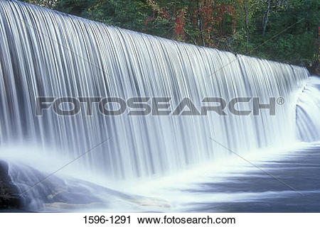 Stock Photography of Water flowing through a dam, Beckley Iron.