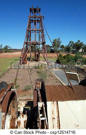 Stock Photography of Gold mining industrial monument, Australia.
