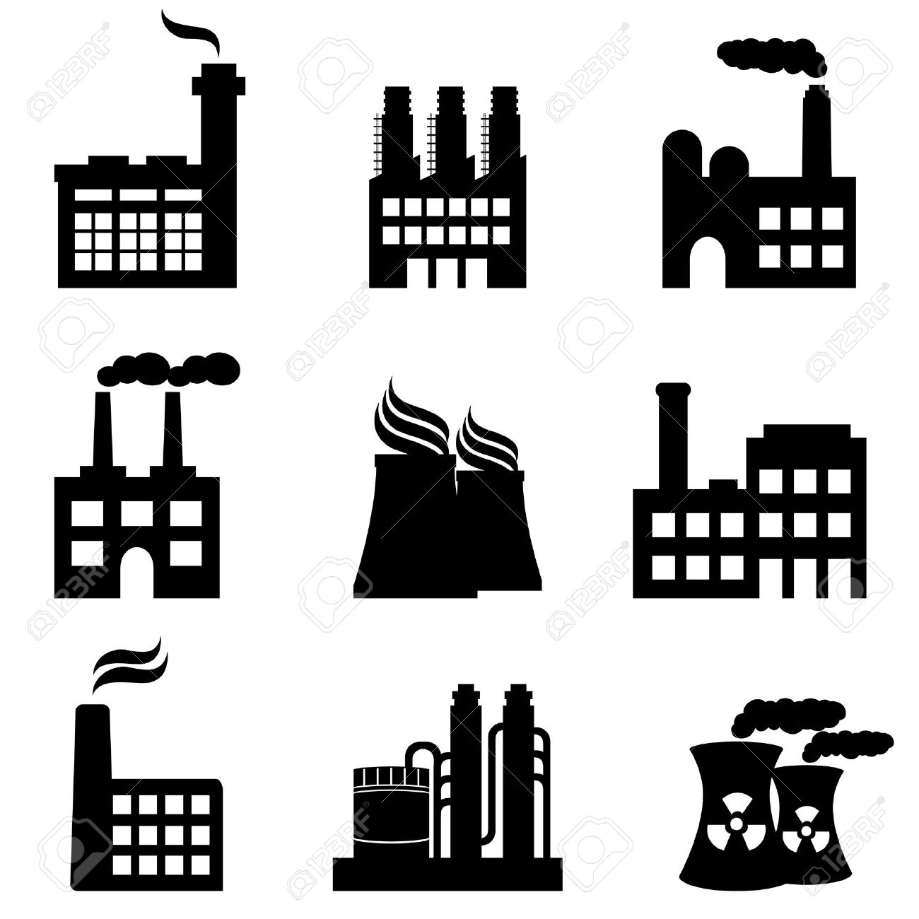 Industrial Buildings, Factories And Power Plants Icon Set Royalty.