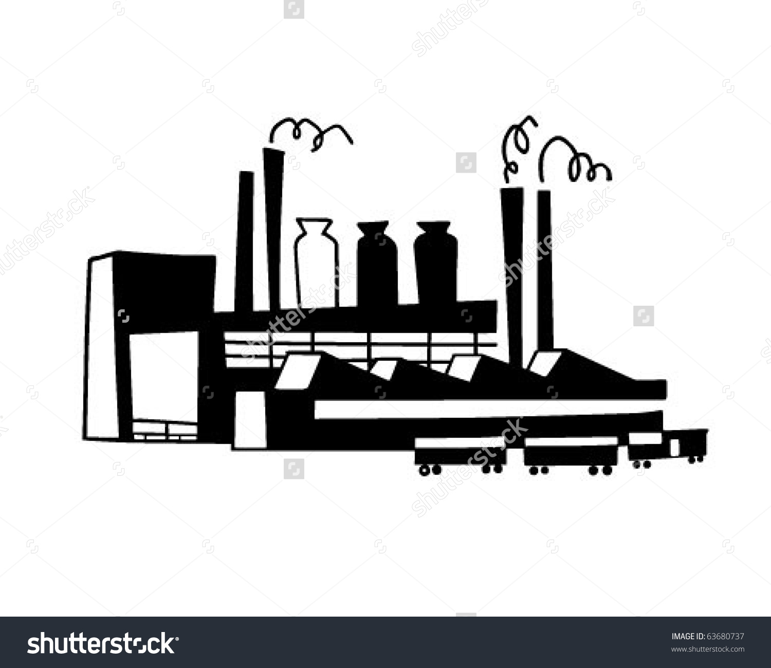 Industrial Plant Retro Clipart Illustration Stock Vector 63680737.