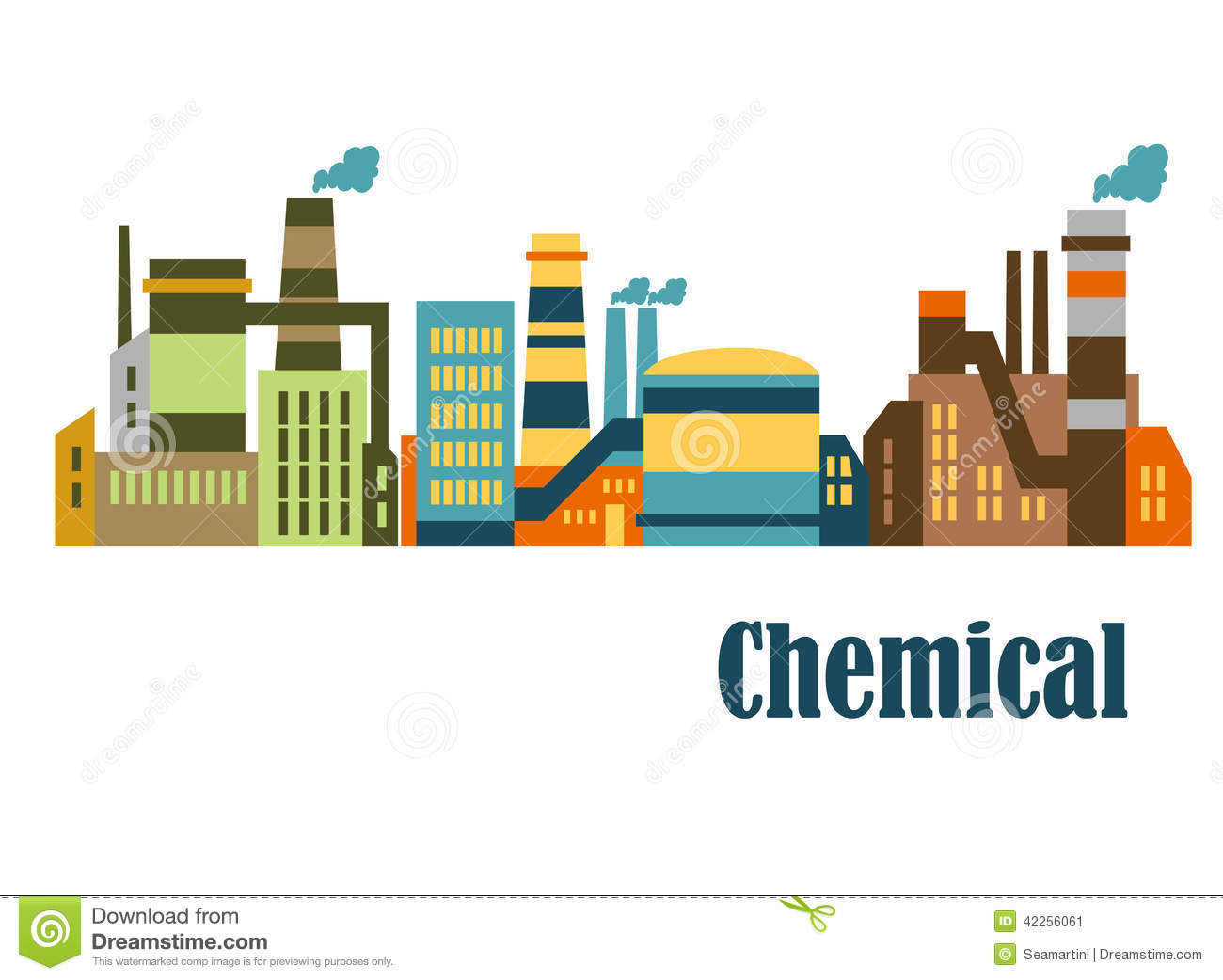 Flat Factories And Plants Stock Vector.