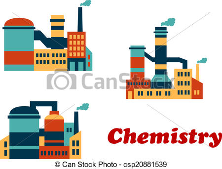 Vector of Flat factories and plants.