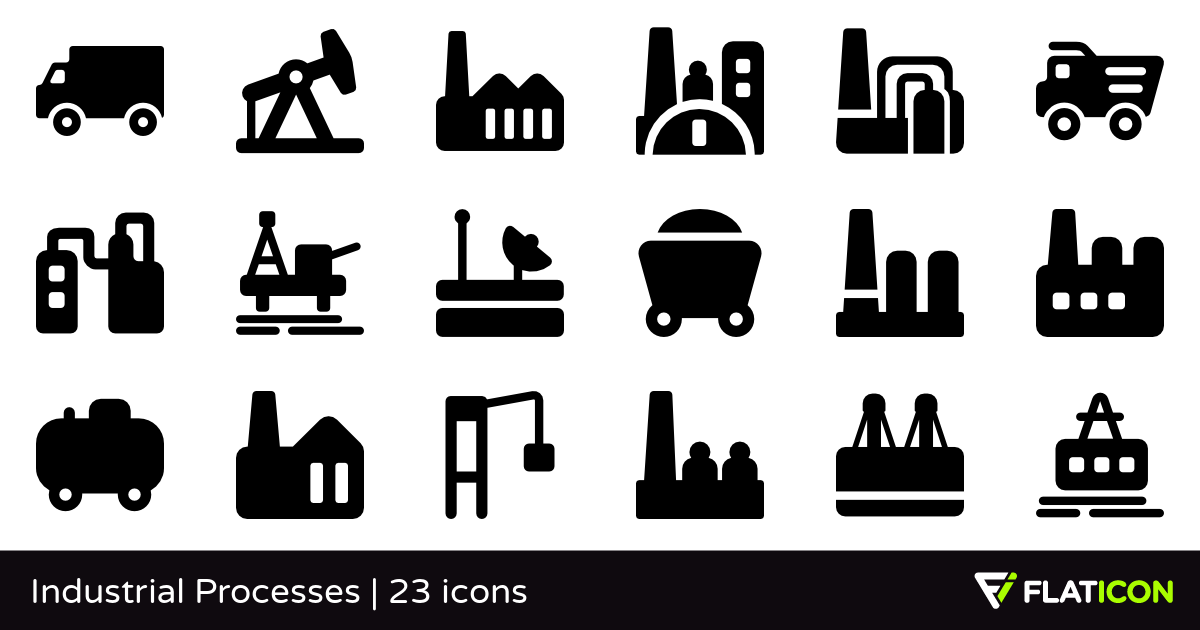 Industrial Processes 23 free icons (SVG, EPS, PSD, PNG files).