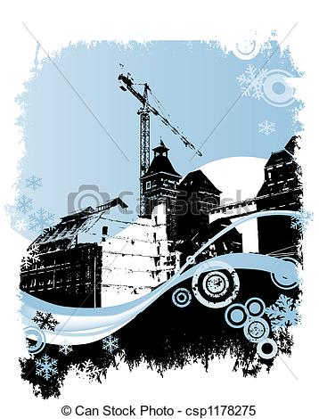 Stock Illustrations of winter, industrial site.