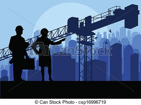 Vector Clip Art of Engineer and construction site manager watching.