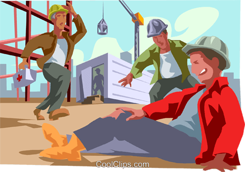 injured workman at industrial site Royalty Free Vector Clip Art.