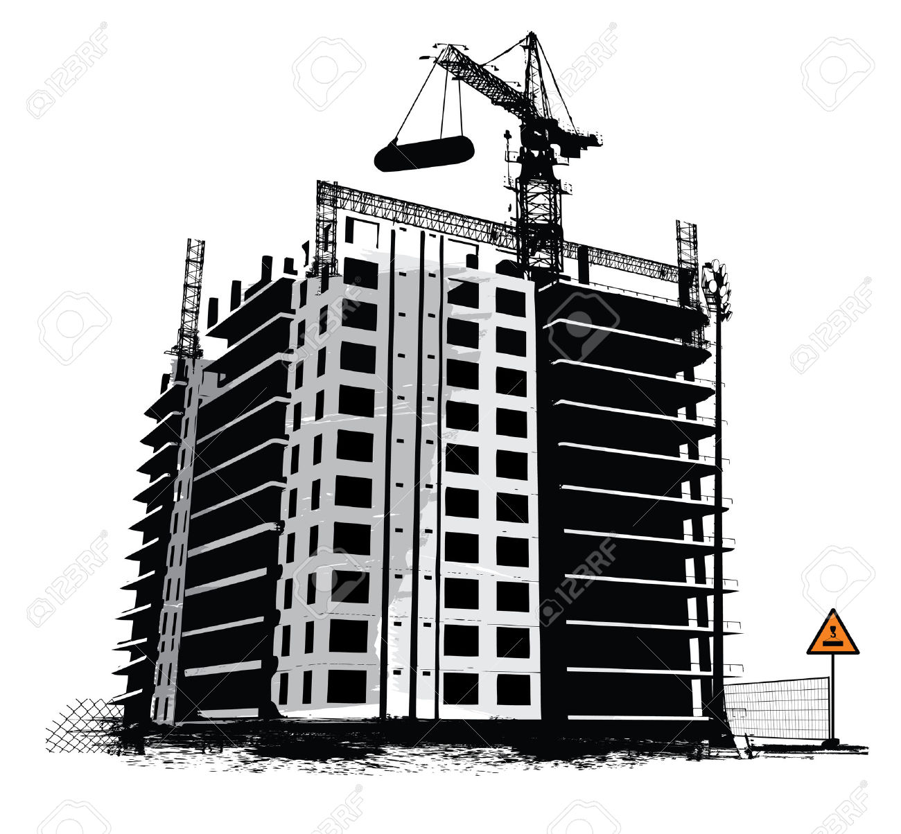 Construction Work Site Industrial Background Royalty Free Cliparts.