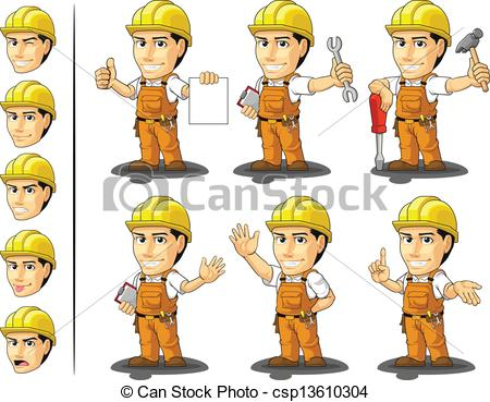 Vector Clipart of Industrial Construction Worker Masc.