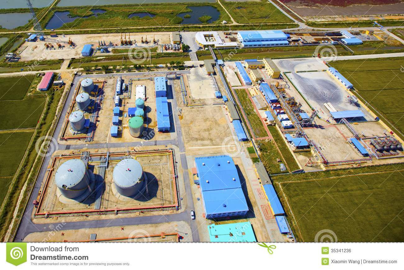 Aerial View Of Petrol Industrial Zone Royalty Free Stock Image.