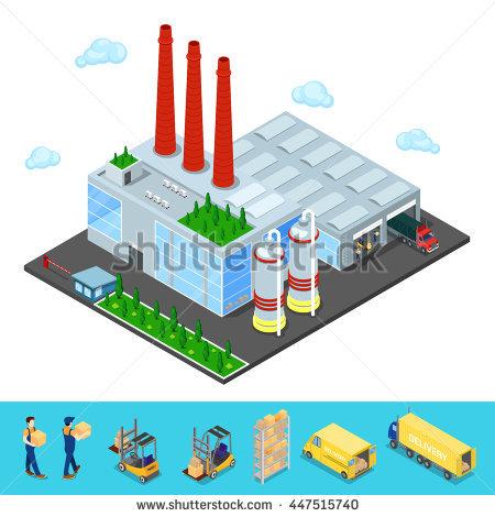 City Industrial Commercial Special Economic Zone Stock Vector.