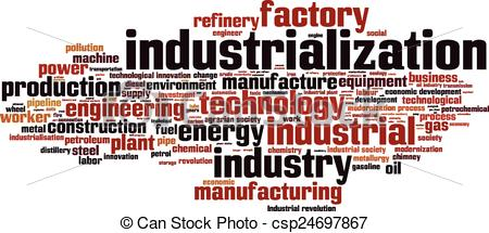 Clip Art Vector of Industrialization word cloud concept. Vector.