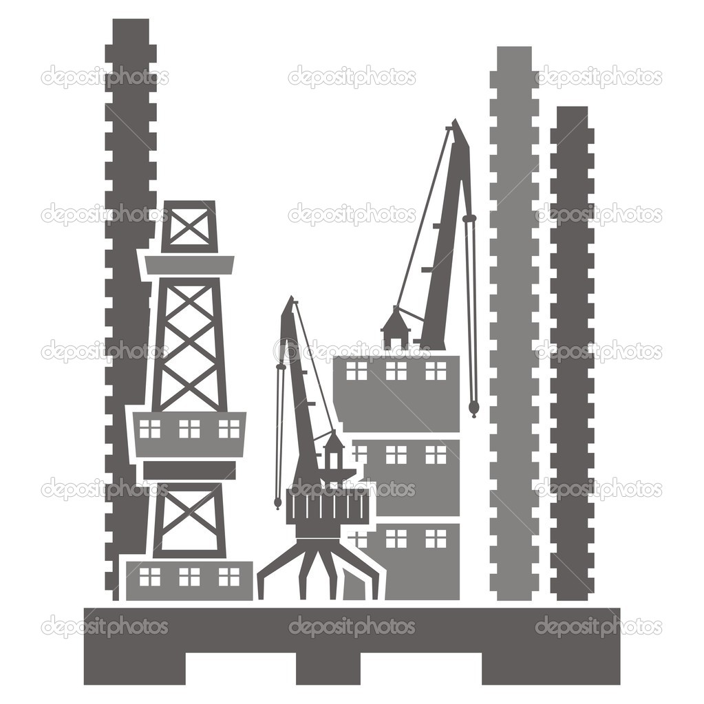 Vector illustrations of industrial buildings. — Stock Vector.