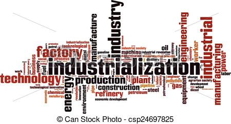 Vector Illustration of Industrialization word cloud concept.