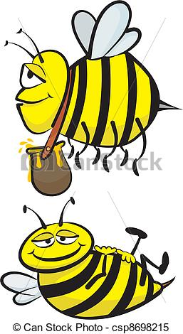 Clipart Vector of industrious and lazy bee.