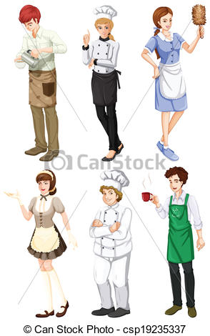 Vectors of A group of people engaging in different professions.