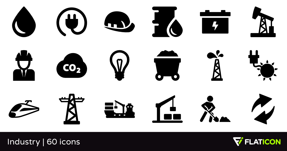 Industry 60 free icons (SVG, EPS, PSD, PNG files).