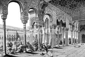 Mittelalterliche Innenhof Der Alhambra Palast IN Granada Spanien.