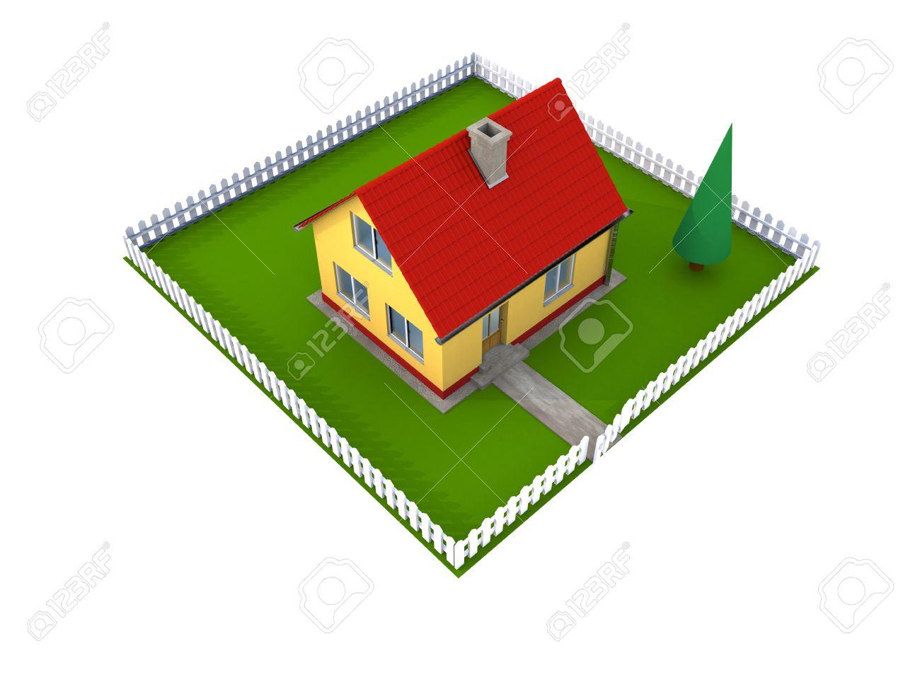 Kleines Einfamilienhaus Mit Rotem Dach Und Grünen Innenhof Mit.