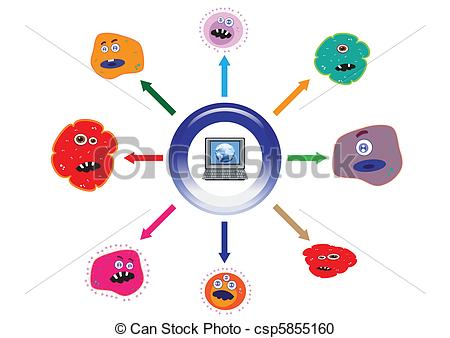 Vector Clipart of Computer Virus Spreading from Infected Computer.