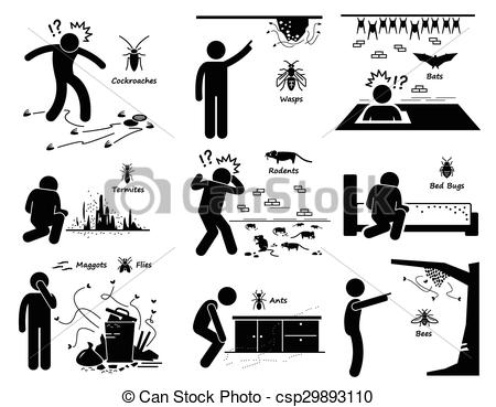 Vector Clip Art of Infestation of Pests.